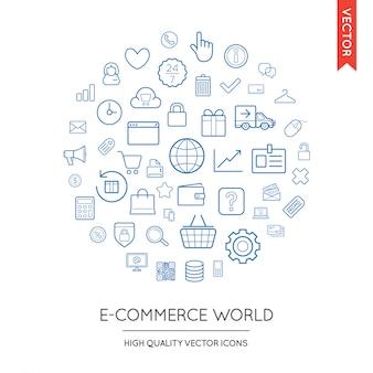 Zestaw nowoczesnych płaskich cienkich ikon e-commerce wpisanych w okrągły kształt