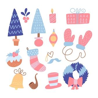 Zestaw nowoczesnych płaskich ręcznie rysowane stylu boże narodzenie płaskie ikony. ilustracja. kolekcja do dekoracji świątecznych - choinka, rękawiczki, wieniec, pudełko, dzwonek, skarpetka, świeca, zabawka i tort świąteczny.