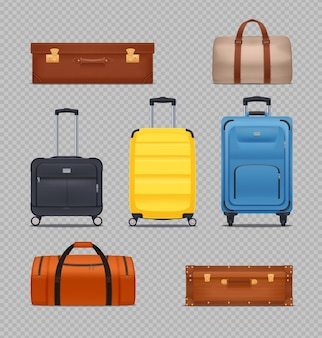 Zestaw nowoczesnych plastikowych bagaży