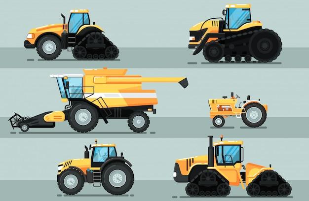 Zestaw nowoczesnych pojazdów rolniczych na białym tle