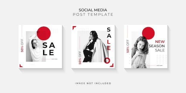 Zestaw nowoczesnych post mediów społecznościowych szablon
