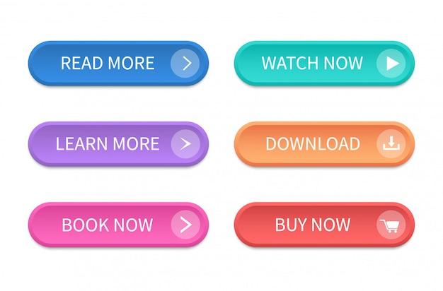 Zestaw nowoczesnych przycisków do strony internetowej i interfejsu użytkownika. ikona wektor
