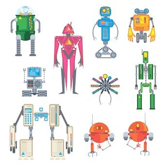 Zestaw nowoczesnych robotów na białym tle.