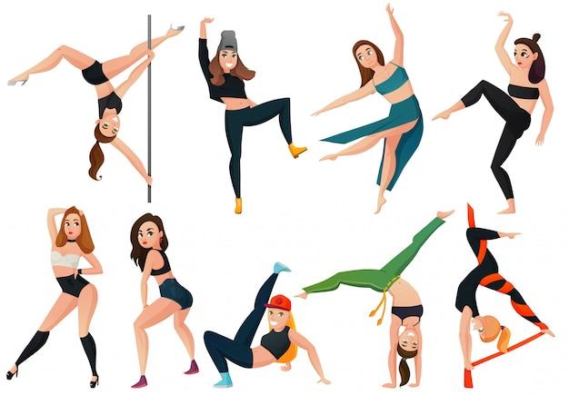 Zestaw nowoczesnych rodzajów tańca