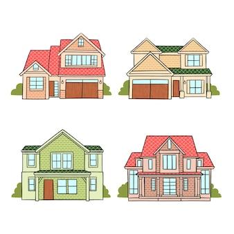 Zestaw nowoczesnych różnych domów
