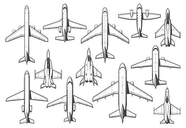 Zestaw nowoczesnych samolotów cywilnych i wojskowych.