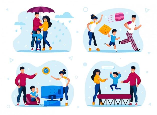 Zestaw nowoczesnych scen szczęśliwego stylu życia rodziny