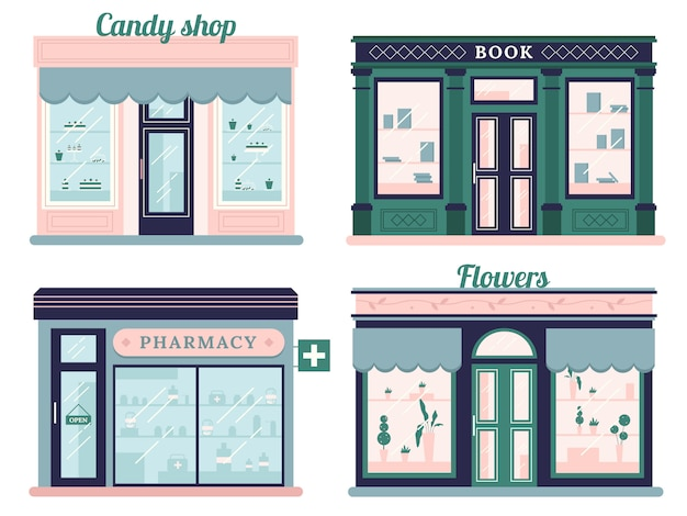 Zestaw nowoczesnych sklepów