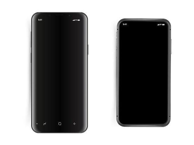 Zestaw nowoczesnych smartfonów na białym tle