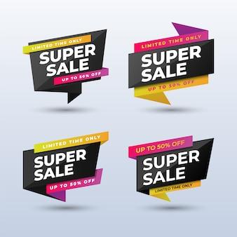 Zestaw nowoczesnych super sprzedaż banerów szablon projektu