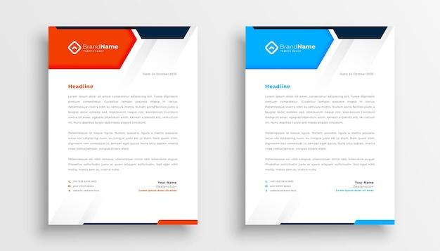 Zestaw nowoczesnych szablonów firmowych papieru firmowego