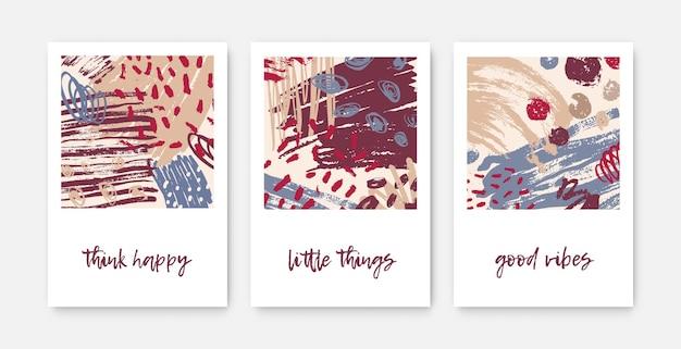 Zestaw nowoczesnych szablonów kart dekoracyjnych z inspirującymi frazami lub wiadomościami i abstrakcyjnymi plamami, plamami, pociągnięciami pędzla, bazgrołami, śladami farby.
