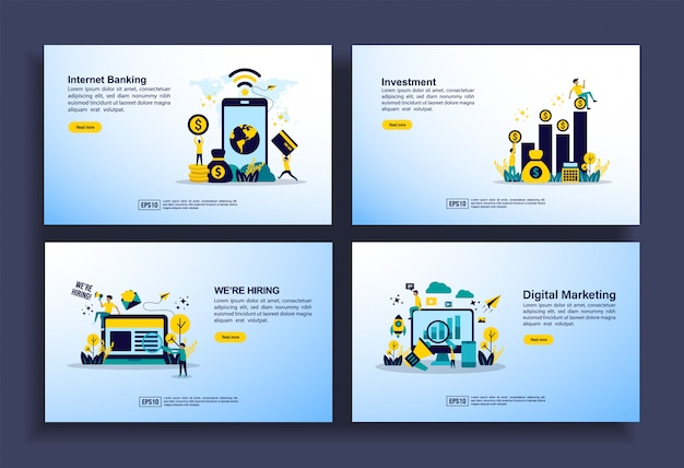 Zestaw nowoczesnych szablonów płaskich dla biznesu, bankowości internetowej, inwestycji, zatrudnienia, marketingu cyfrowego