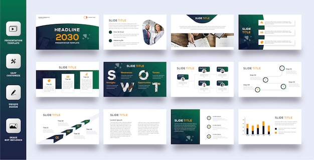 Zestaw nowoczesnych szablonów prezentacji firmy