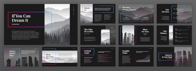 Zestaw nowoczesnych szablonów prezentacji.