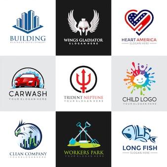 Zestaw nowoczesnych szablonów projektu logo