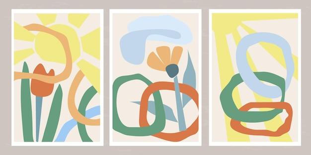 Zestaw nowoczesnych szablonów z abstrakcyjną kompozycją prostych kształtów