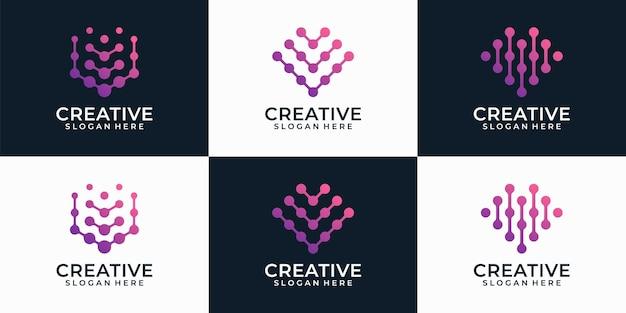 Zestaw nowoczesnych technologii list v logo projektuje elementy inspiracji