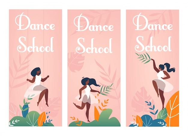 Zestaw nowoczesnych ulotek z zaproszeniem do szkoły tańca klasycznego