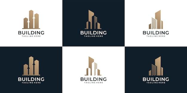 Zestaw nowoczesnych unikalnych inspiracji logo budynku nieruchomości