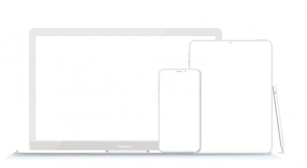 Zestaw nowoczesnych urządzeń glinianych: laptop, tablet i telefon. ilustracja