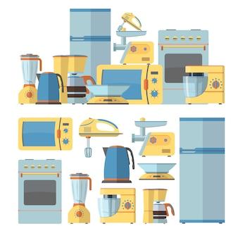 Zestaw nowoczesnych urządzeń kuchennych. ilustracja wektorowa w stylu płaski. elementy wystroju