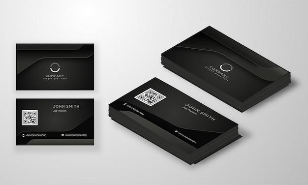 Zestaw nowoczesnych wizytówek lub wizytówek w kolorze czarnym.