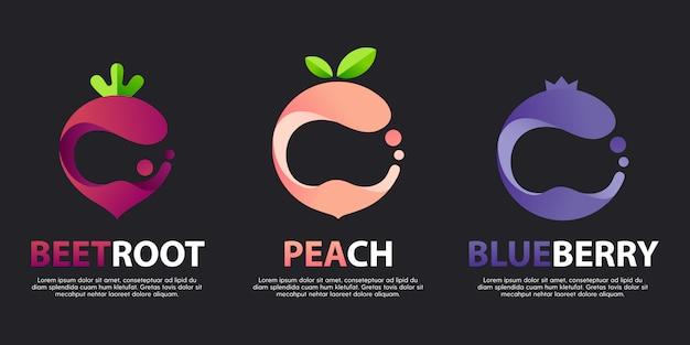 Zestaw nowoczesnych wspaniałych logo z ozdobnymi owocami