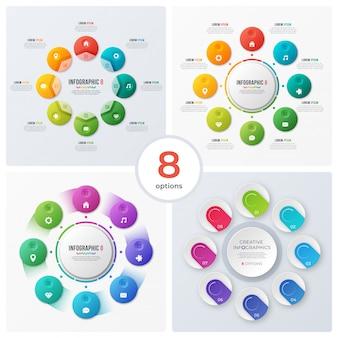 Zestaw nowoczesnych wykresów kołowych i infografiki