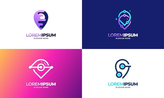 Zestaw nowoczesnych wzorów szablon logo point tech, szablon logo digital point technology projektuje ilustracji wektorowych