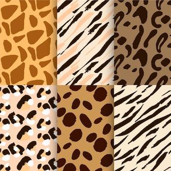 Zestaw nowoczesnych wzorów zwierzęcych