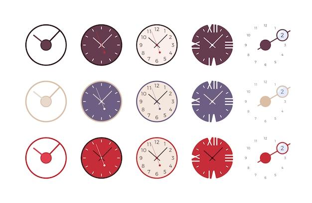 Zestaw nowoczesnych zegarów ściennych