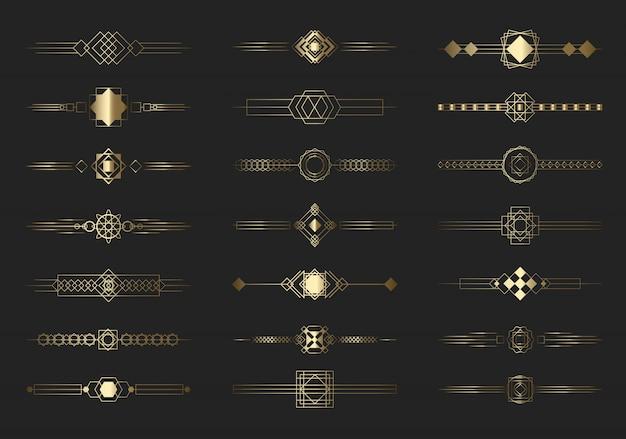 Zestaw nowoczesnych złotych linii podziału