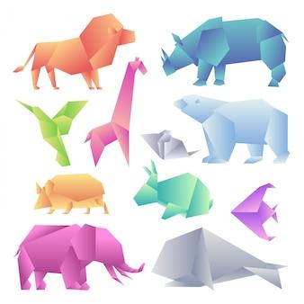 Zestaw nowoczesnych zwierząt gradientowych low poly. zwierzęta z papieru gradientowego origami. lew, nosorożec, koliber, żyrafa, mysz, niedźwiedź, jeż, zając, ryba, słoń, wieloryb.