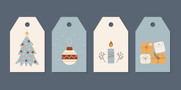 Zestaw noworocznych ręcznie rysowanych etykiet tagów ze świecą, choinkowe rośliny i pudełka na prezenty
