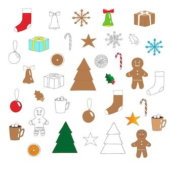 Zestaw nowy rok i boże narodzenie, ilustracji wektorowych, gryzmoły, kolorowe zdjęcia i stylizowane ciasteczka, rysunek odręczny