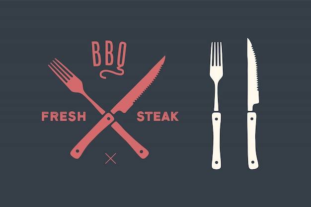 Zestaw noży i widelców do krojenia mięsa. akcesoria do steków, rzeźnika i grilla