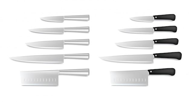 Zestaw noży kuchennych ze stali na białym tle. kolekcja noży szefa kuchni restauracji, nóż rzeźniczy, realistyczne ikony sztućców