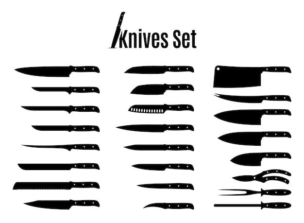 Zestaw noży wektorowych na białym tle