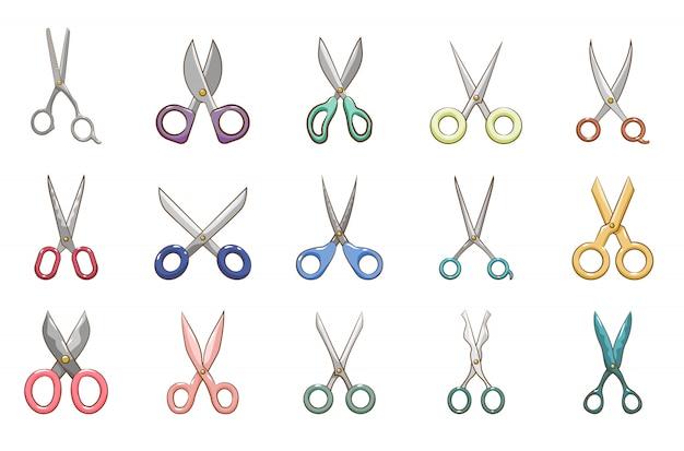 Zestaw nożyczek kolekcja projekt graficzny clipart