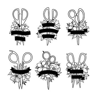 Zestaw nożyczek z dekoracjami kwiatowymi i wstążkowymi
