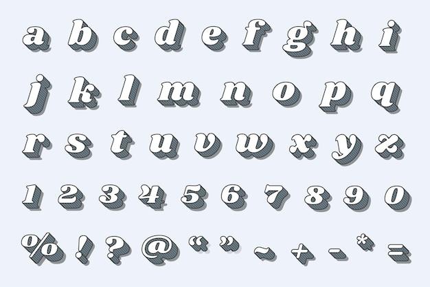 Zestaw numerów alfabetu retro pogrubioną typografią