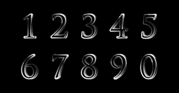 Zestaw numerów filmu silver metal solid strong font