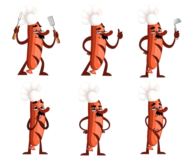 Zestaw o charakterze kiełbasy grillowej. maskotka kiełbasa trzyma narzędzia kuchenne. pojęcie kucharza. . ilustracja na białym tle. strona internetowa i aplikacja mobilna.