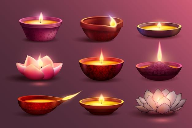 Zestaw obchodów diwali z dekoracyjnymi kolorowymi obrazami płonących świec z różnymi ilustracjami wzoru i kształtu