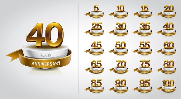 Zestaw obchodów logo złotej rocznicy