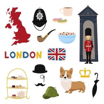 Zestaw obiektów i symboli związanych z londynem i anglią.