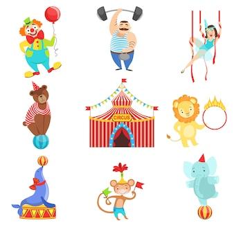 Zestaw obiektów i znaków związanych z cyrkiem