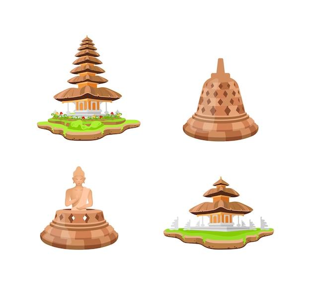 Zestaw obiektów indonezyjskich świątyń płaski kolor. świątynia borobudur. statua buddy. pagoda bali. światowe dziedzictwo kreskówka na białym tle