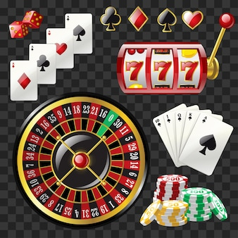 Zestaw obiektów kasyna - nowoczesne wektor realistyczne na białym tle clipart na przezroczystym tle. karty do gry, automat 777, ruletka, kolory, kości, żetony do pokera, czarny poker królewski. koncepcja hazardowa